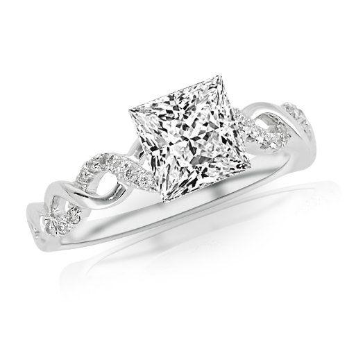 Princess Cut Twisting Infinity Gold And Diamond Split Shank Pave Set Engagement Ring