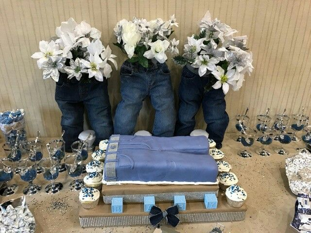 Denim and diamonds baby shower baskets pinterest for Dekoration fur babyparty