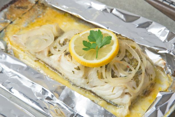 Cod Fish Grilled in Foil - delicate and excellent! Increase the spice a bit then serve with a less hearty vegetable.