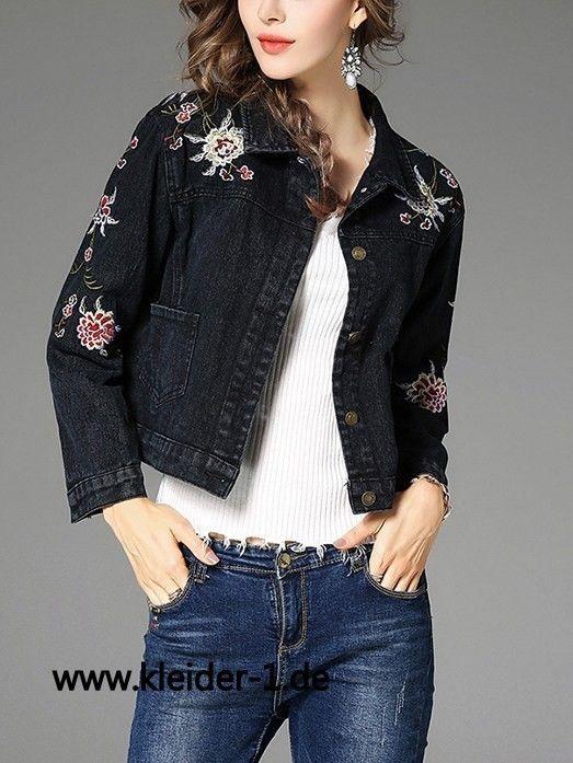 Damen Jeans Jacke in Dunkelblau mit Blumen Stick
