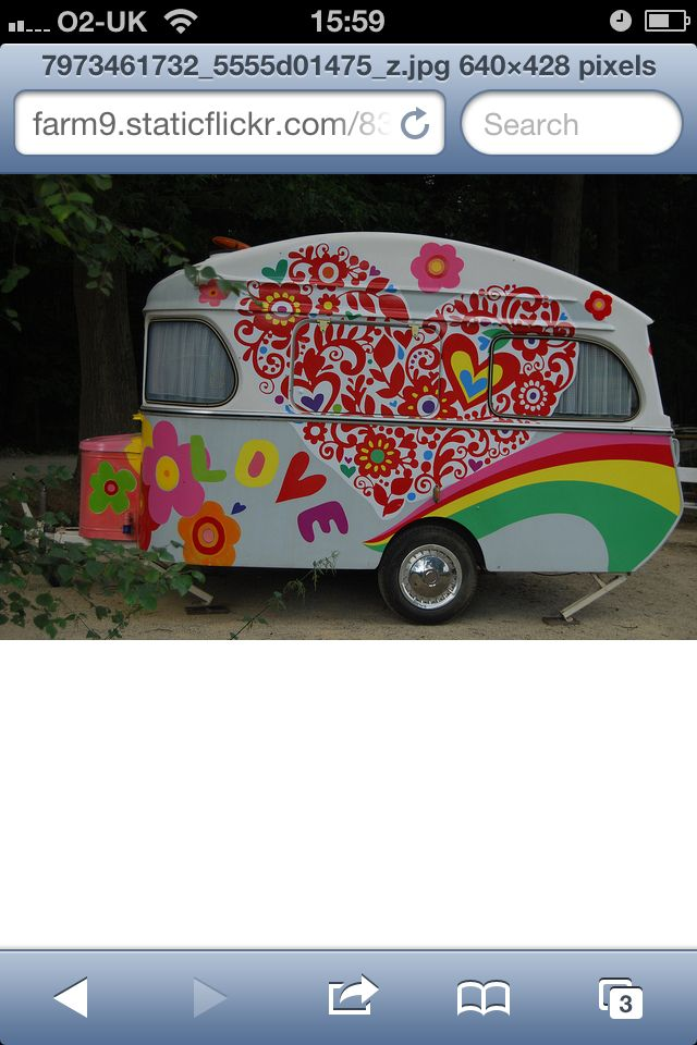 Hippy heart  vintage trailer camper glamping