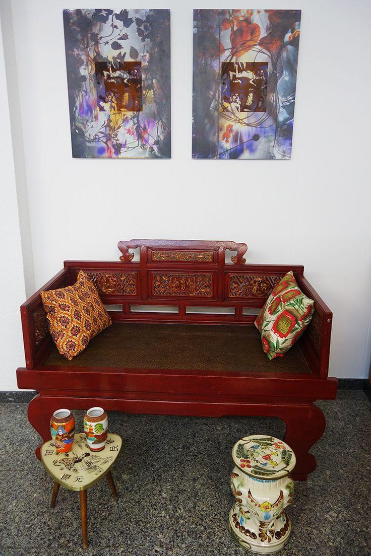 Sofá chino para fumadores opio - Sillas vintage oriental - Decoración vintage