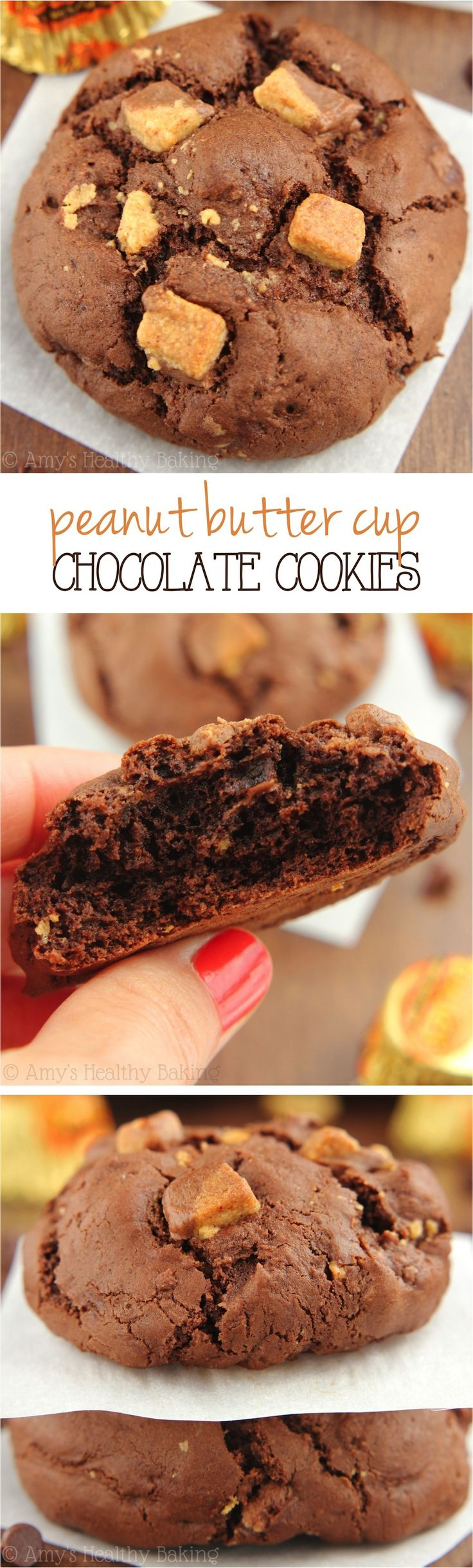Peanut Butter Cup Chocolate Cookies -- the BEST cookies I've ever made. They taste like a giant Reese's! Super soft, so easy & only 105 calories!