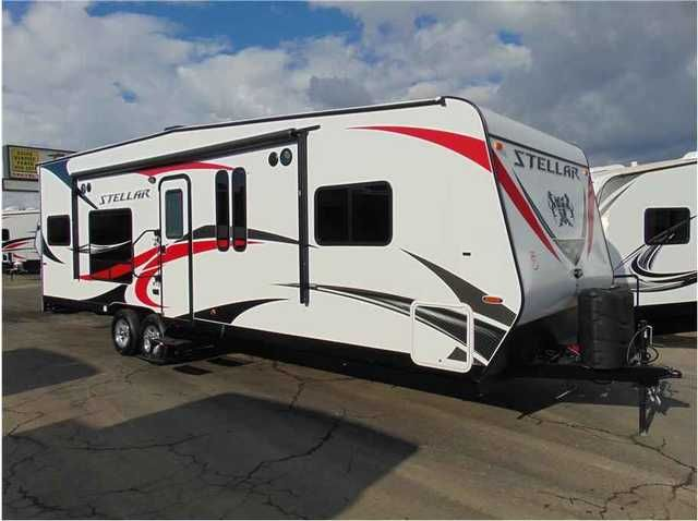 """2017 New Eclipse STELLAR L27FSG Toy Hauler in California CA.Recreational Vehicle, rv, 2017 Eclipse STELLAR L27FSG, Call us for the absolute lowest price on this trailer!! We will not be undersold!!Complete PDI walk through as well as 24 hour technical support for as long as you own your trailer!!Options Includes:4.0 generator w/transfer switch,36 Gal fuel station w/tank,spare tire & carrier(15"""" 6 lug),RVIA tag,walnut wood,graphics:red,160 watt solar panel,15"""" aluminum wheels(6 lug),2 chairs…"""
