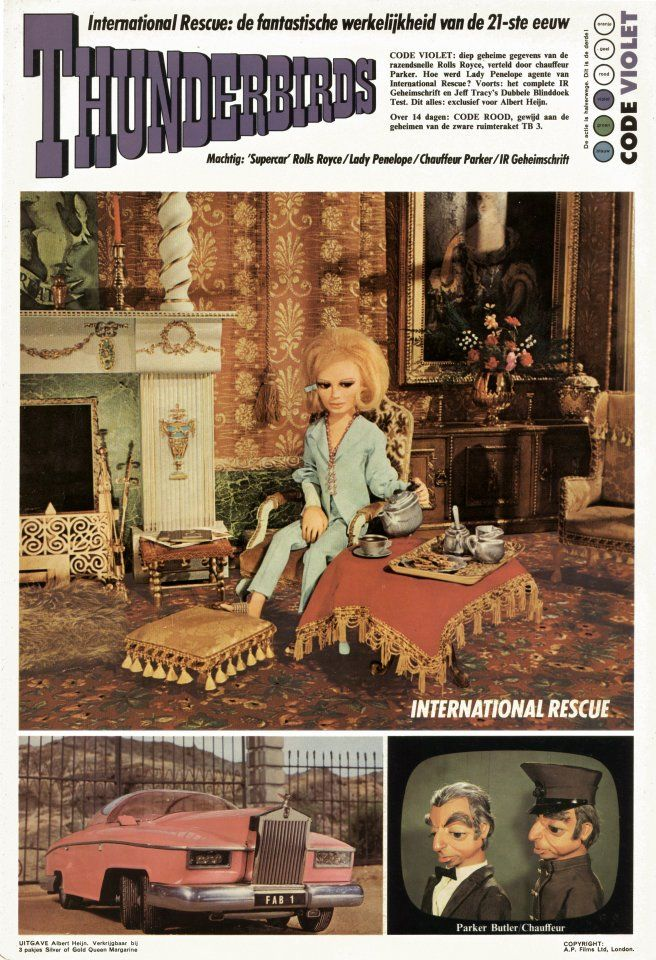 "THUNDERBIRDS: Lady Penelope, her pink ""Supercar"" Rolls Royce, and Parker, her chauffeur/butler"