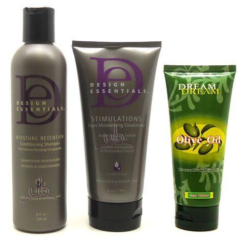 Design Essentials Moisture Shampoo 8oz + Stimulations Conditioner 6oz + Dream Body Olive Oil Lotion 100ml SET by Design Essentials. $21.90. Design Essentials Stimulations Conditioner 6oz. Design Essentials Moisture Retention Shampoo 8oz. Dream Body Olive Oil Lotion 100ml (Hand & Body). Dream Body Olive Oil acts as a moisturizer and protectant against weather sensitive skin. It is rich non-greasy formula soothes and softens skin instantly. Apply Dream Olive Oil to...