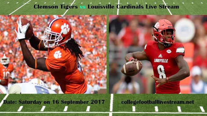 Clemson Tigers vs Louisville Cardinals Live Stream Teams: Tigers vs Cardinals Time: 3:30 PM ET Week-3 Date: Saturday on 16 September 2017 Location: Papa John's Cardinal Stadium, Louisville, KY TV: ESPN NETWORK Clemson Tigers vs Louisville Cardinals Live Stream Watch College Football Live...