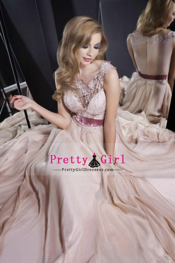 2016 Bateau Prom Dresses A-Line With Applique Chiffon US$ 149.99 PGDPANQAFFR - PrettyGirlDressess.com for mobile