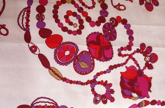 Fabric - FINLAYSON - Cotton canvas fabric - Heavy fabric - Flower print fabric - Half meter / Half yard