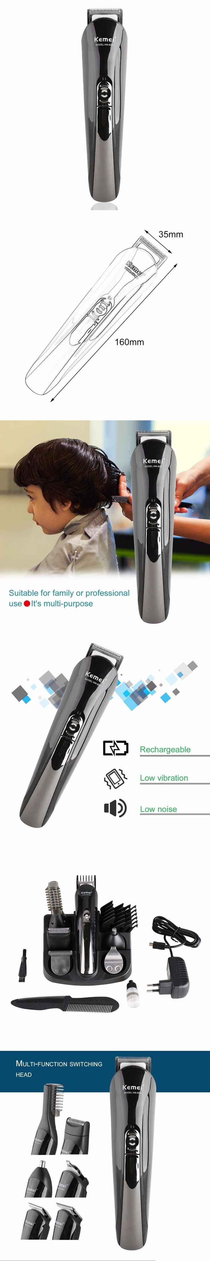 KEMEI KM-600 Household Use Professional Hair Clipper Grooming Kit Electric Rechargeable Men Hair Trimmer Shaver Top Sale