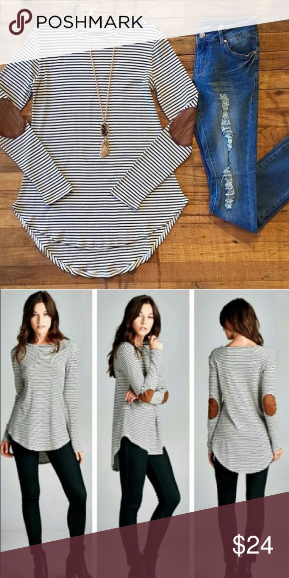 Soft Striped Top with Suede Elbow Patches This soft top is the hit of the season! Fits true to size! Tops