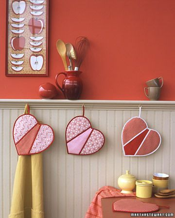 Heart-Shaped Pot Holders  These charming pot holders make sweet Valentine's Day gifts. After all, these mitts are warm and fuzzy inside and all heart on the outside. (Martha Stewart)