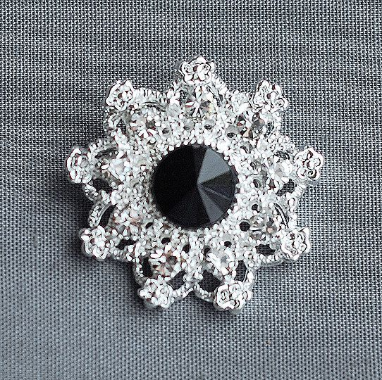 10 Rhinestone Buttons Jet Black Round Diamante by yourperfectgifts, $14.98