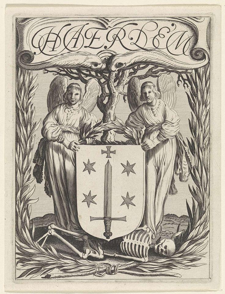 Jan van de Velde (II) | Wapen van Haarlem met twee engelen, Jan van de Velde (II), 1628 | Twee engelen met een lauwerkrans flankeren het stadswapen van Haarlem. Onder het wapen een menselijk geraamte.