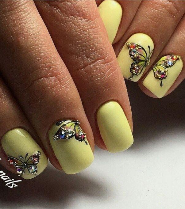 Yellow Butterflies Nail Art Design Graduation Nails Yellow