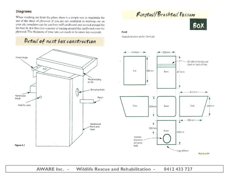 A diagram of how to build the nest box