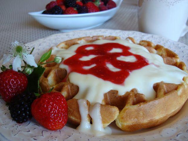 Mennonite Girls Can Cook: Waffles with Vanilla Custard