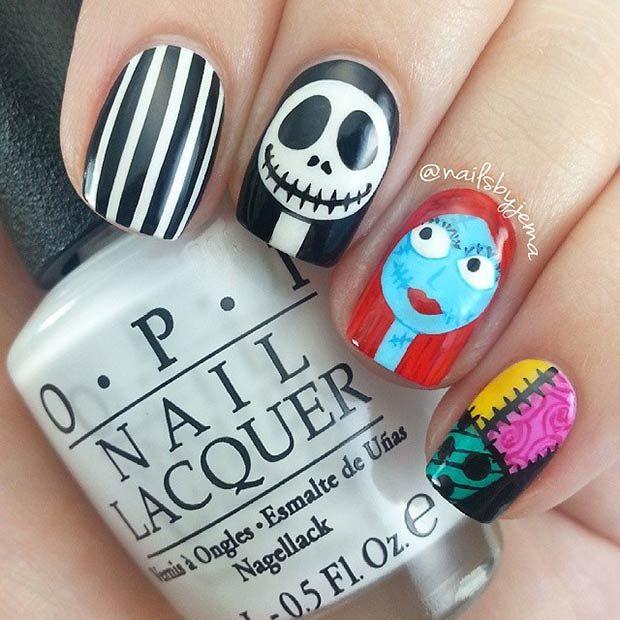Jack & Sally (The Nightmare before Christmas) Nail Art Design
