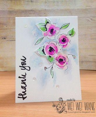 Wei Wei Wei's Cardmaking Garden of hand-made card diary: Thank you - watercolored flower card