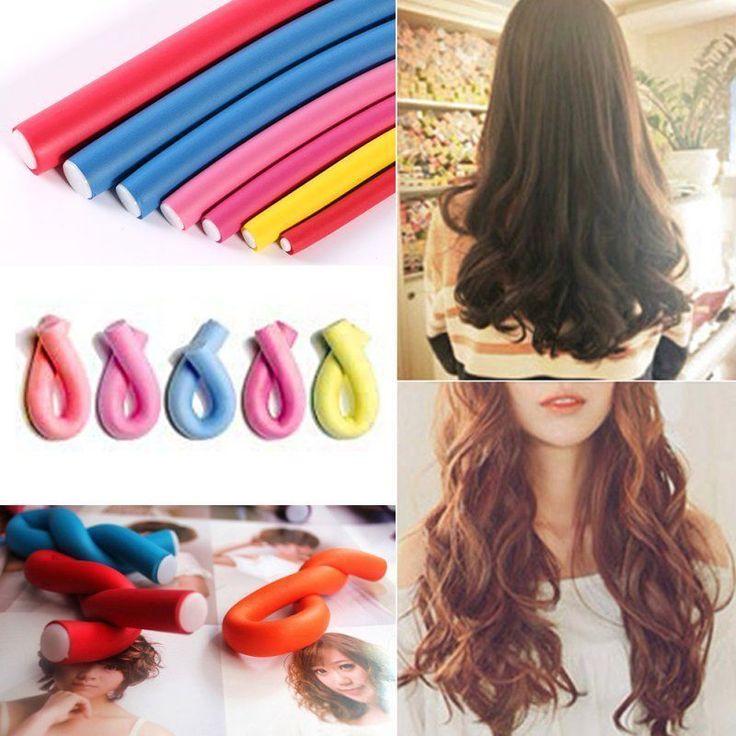 10Pcs Hairstyle Foam Curler Stick Spiral Curl Tool Diy