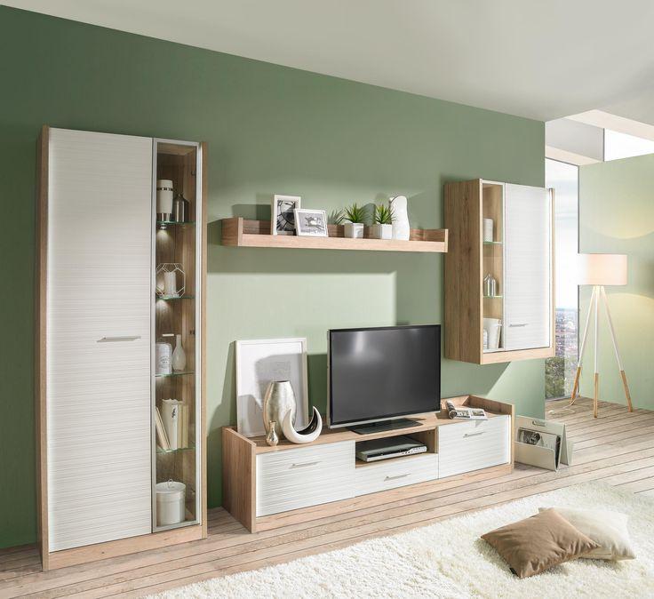 120 best Wohnwände images on Pinterest - moderner wohnzimmerschrank mit glastüren und led beleuchtung