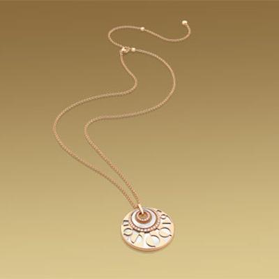 MEDITERRANEAN EDEN Big Necklace Ref.CL855753, in 18 kt Pink Gold with Mother of Pearl and Pavé Diamonds. 60-90cm long €11.500,00. Collana #Bulgari Linea MEDITERRANEAN EDEN Ref. CL855753 In Oro Rosa, Madreperla Bianca e Diamanti.60-90cm. € 11.500,00