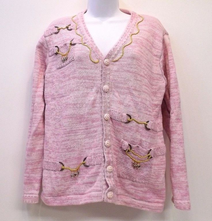 Storybook Knits Pink Cardigan Sweater Charming Lady with Charms Womens Medium #StorybookKnits #Cardigan #Casual