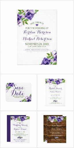 Beautiful watercolor purple floral wedding collection