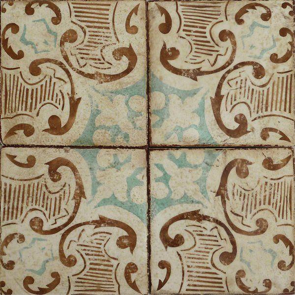 mediterranean tile #21 . mocha & turquoise on off white . tabarka studio