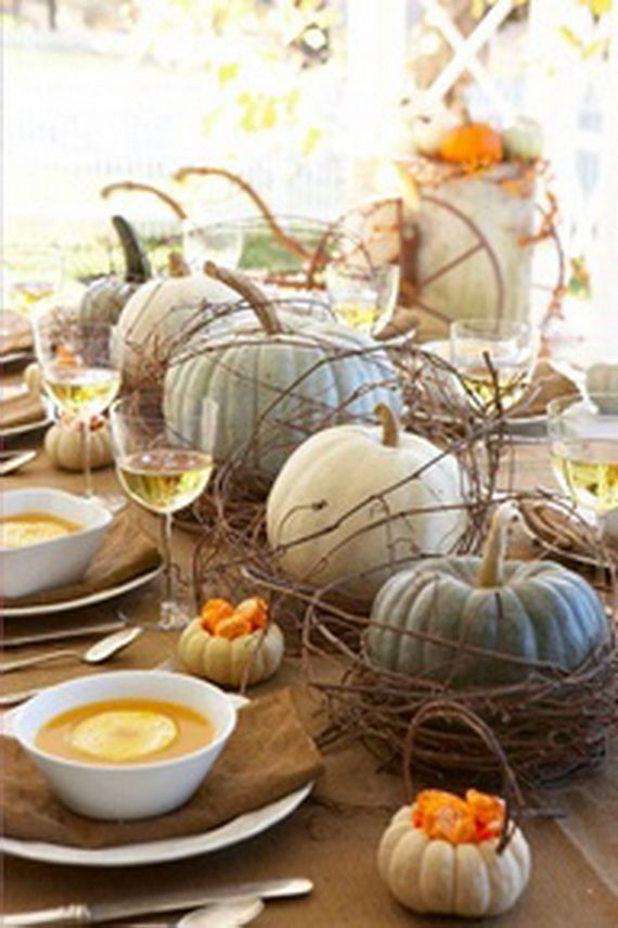 Thanksgiving fall autumn white pumpkin centerpiece and