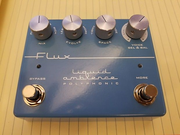 This is the Flux Effects Liquid Ambience. Never left my bedroom. I could go on about the quality of this verb but check out the YouTube reviews for a taste of what it can do. I hate to part with it but I need cash more than I need an angelic, ambient sounding guitar right now. I know, sad.   U.S. shipping only.