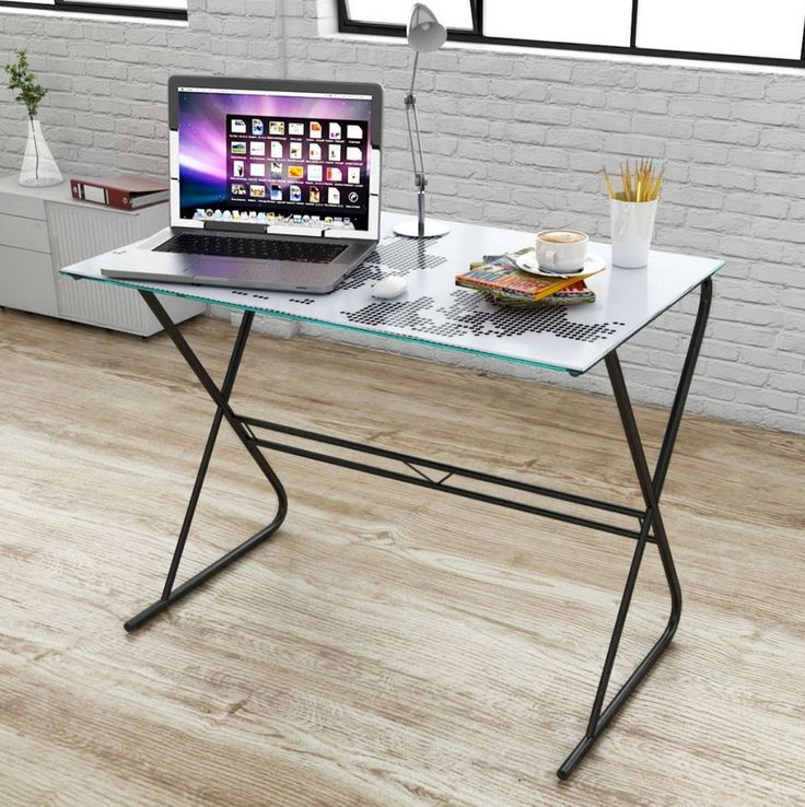 Computer Glass Desk Home Office Laptop Table Modern Contemporary Furniture  New