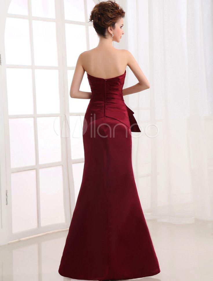 Claret cetim Strapless vestido de dama de honra das mulheres de comprimento do assoalho