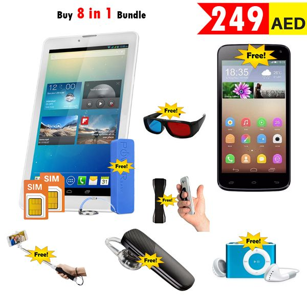 AED 249 - Buy 8 in 1, Atouch 7.0 Inch Android Tablet 3G,8GB, Wi-Fi, Get & Dual Sim Mobile,Bluetooth,Selfie,Mobile Grip,Power Bank,3D Glass FREE. Visit Aset-uae.com for more deals.