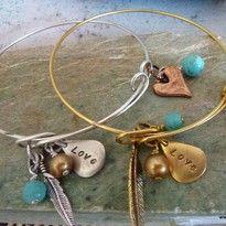 turquoise affirmation gemstone crystal bangle bracelet handmade noosa