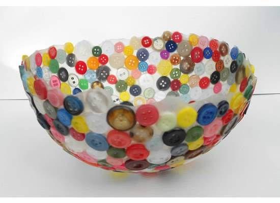 Button bowl. I like the idea of using a balloon as bowl shape base.