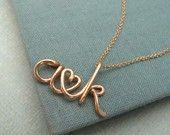 L'originale due amanti - 14k personalizzata iniziali collana Valentino, collana di coppie, matrimonio, acquazzone bridal, anniversario, sposa,