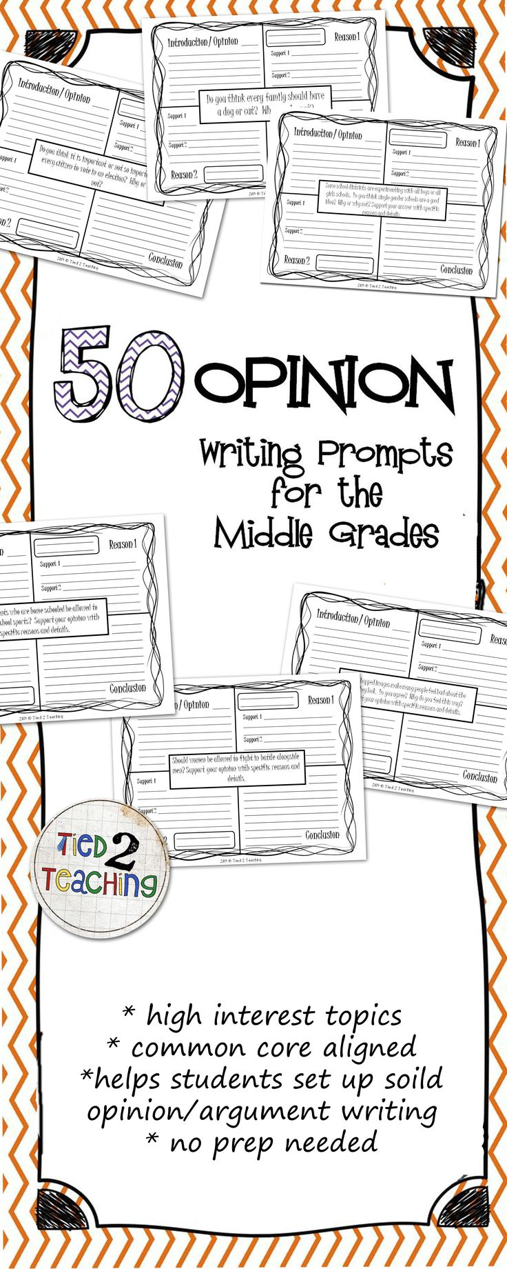 This resource comes with an extensive, Common Core Aligned, 50 Opinion / Argument Writing Prompts for the Middle Grades. Perfect for helping students organize their thinking as they structure and format their opinion and argument writing, these 4-square prompts provide a number of high interest topics to capture students interest and challenge their thinking. 50 Opinion / Argument Writing Prompts on 4-Square organizers