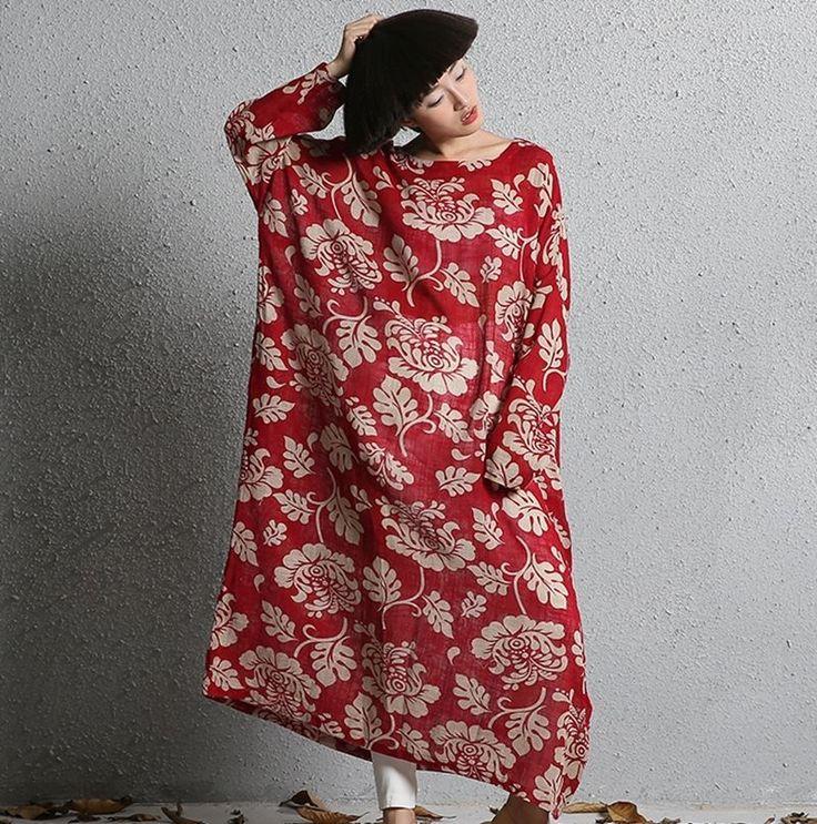 Casual Plus Size Loose Fit Maxi 100% Cotton Womens Long Floral Dress Caftan 2017