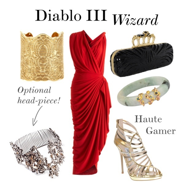Outfit set made on Polyvore inspired by the Wizard from the game, Diablo 3. A red, gold, jade, and black look with Chinese influences.