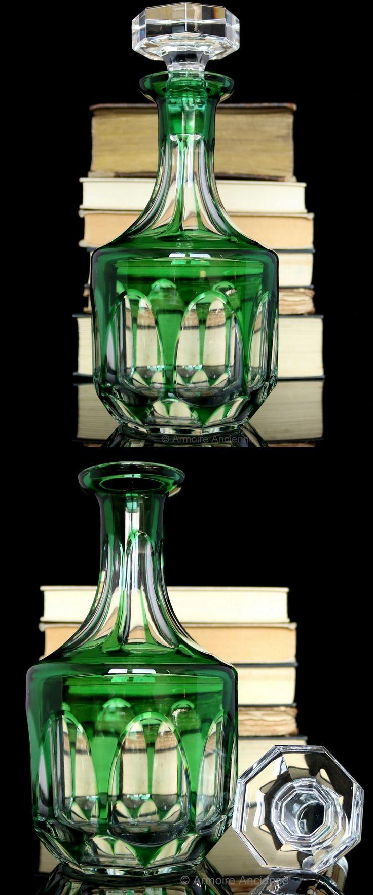 BUY on ETSY: Emerald Green Art Deco Cut Crystal Decanter for Whiskey, Cognac, Wine / Mid Century German Barware & Bar Cart Accessories