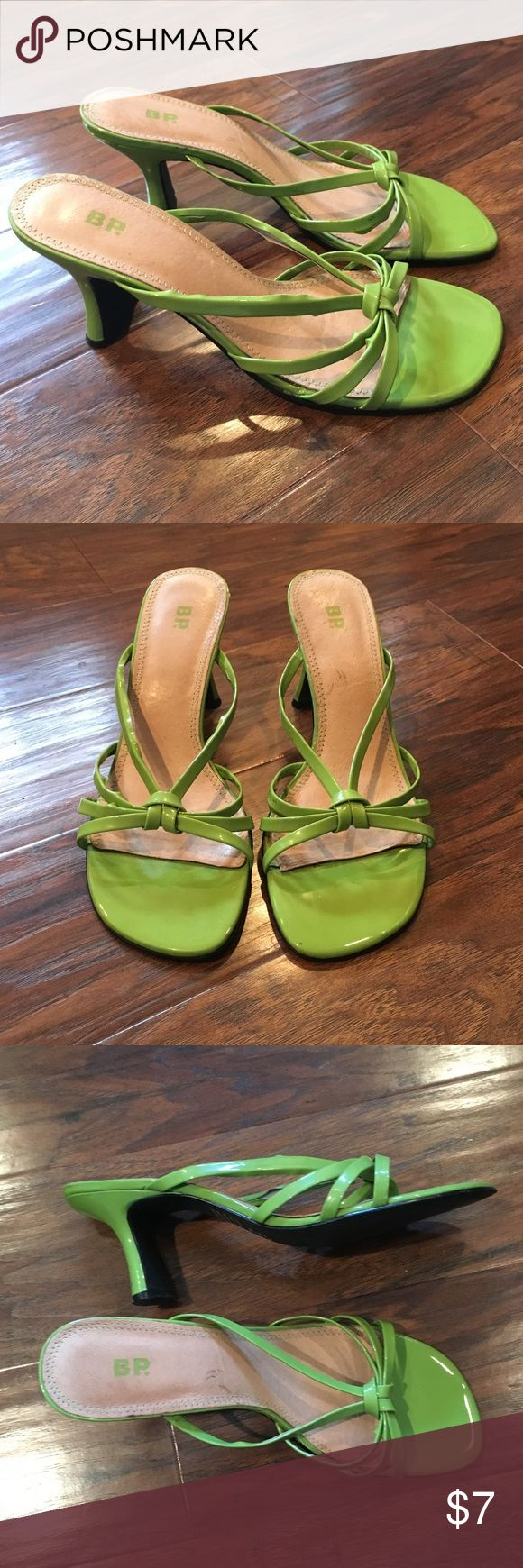 BP green heels Patent leather, pretty lime green strappy high heels.  The leather is coming apart from the strap on one of the shoes (pictures).  Could be fixed with shoe glue if you're handy.  Cute shoes, just want them gone!  Run small... more like 7.5 bp Shoes Heels