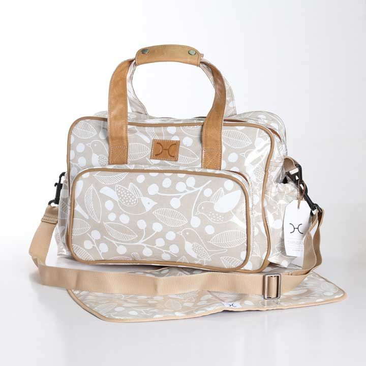 Chatter White on Linen Nappy Bag