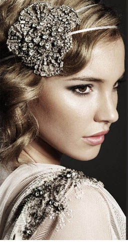Classic waves accented with a glitzy headband are reminiscent of the 1920s.