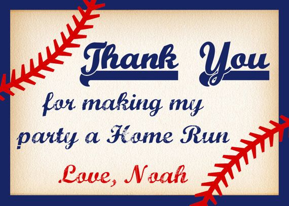 Baseball Thank You Card, Baseball Invitation, Baseball Party, Baseball Birthday, Thank You Card, Baseball Invite, Sports Party PRINTABLE
