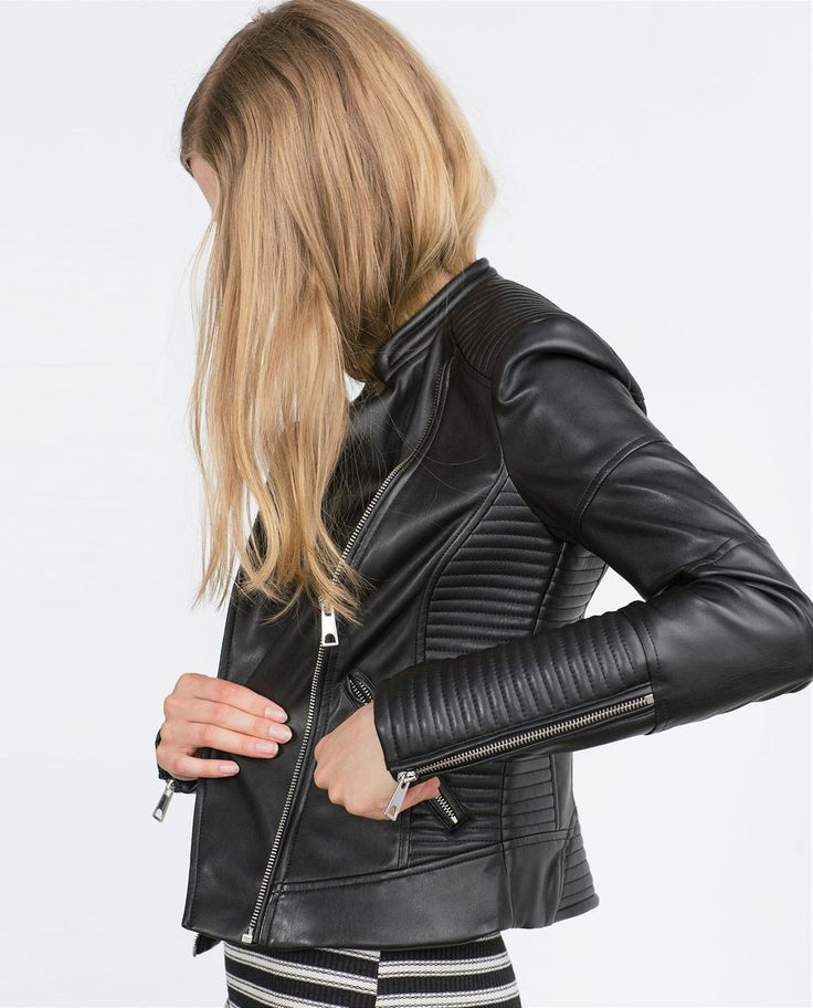 zara vestes de motards en cuir and vestes de motard on. Black Bedroom Furniture Sets. Home Design Ideas