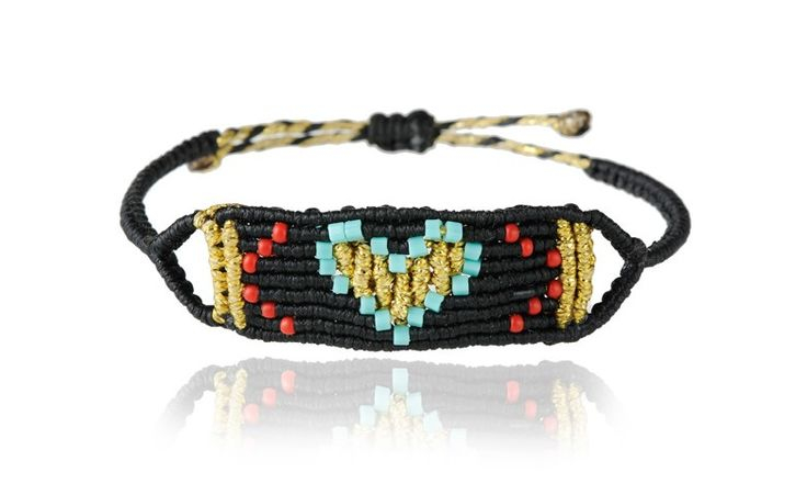 Zoe Kompitsi | Black & Turquoise Heart Band
