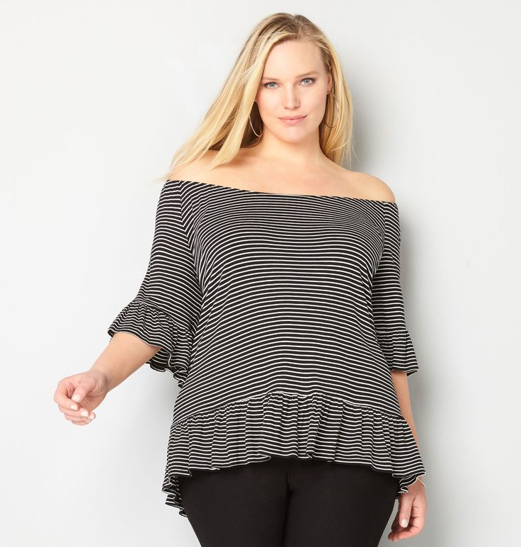 Get striped tops with a peasant style neckline and a peplum trim like our new plus size Striped Peplum Top available in sizes 14-32 online at avenue.com. Avenue Store