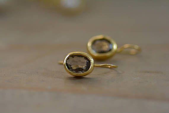 Smokey quartz earrings brown earrings oval earrings