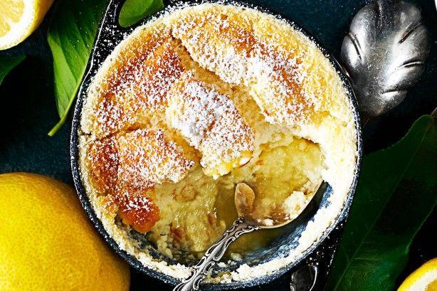 Lemon custard puddings with honey anglaise main image